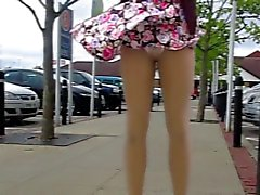 Hot MILF Lets the Wind Blow Her Skirt Up