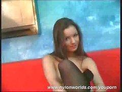 Flexi Pornstar Monika in nylon catsuit