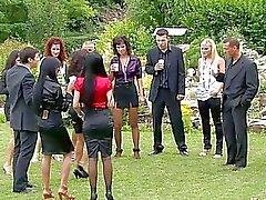 Bussines girls turn meeting in hot outdoor group sex