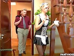 Young maid in pantyhose gets hard dick from her boss