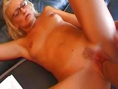 Mature blonde sucks on his cock before he stabs her pussy with it