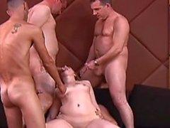 One slut plus four horny guys