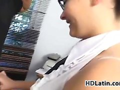 Glasses Wearing Latina With An Older Guy