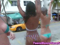 Bikini teens show asses