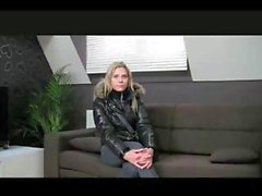 Busty blonde on the casting couch eats his cock before getting drilled