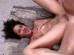 Latina brunette Kattie enjoys getting pumped by white rod