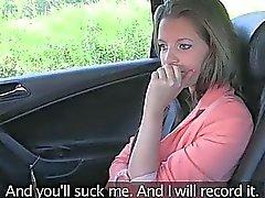 Liona just got cum on her ass at the taxi cab