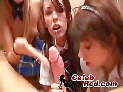 Three Schoolgirls Blow Their Classmate