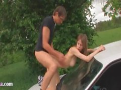 18yo russian chick fucked on the car