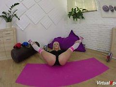 sexy flexi Daisy Lee body stretching