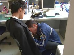 Horny Security Guard Fucks Around Office