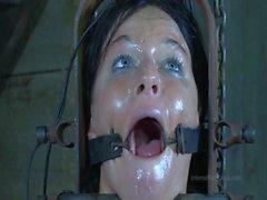Strappado, claustrophobia and orgasm predicament for captive girl