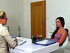 Strapon fucked babe eats agents pussy