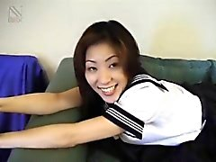 Azusa in uniform gives hot blowjob