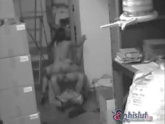 A little storage room sex session for these two employees