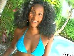 Afro ho flaunts her big buns in a bikini