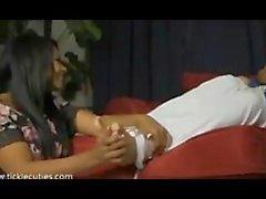 roxanne plays with vivians's ticklish feet