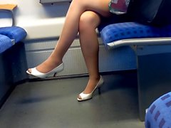 hot nylon legs with peep toe heels in train
