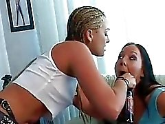 Mean dyke Flower Tucci has her strap on sucked by Julie Knight before a licking