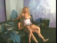 Kinky blonde tranny gets laid