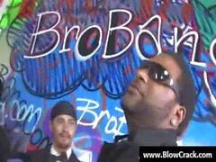 Interracial BlowBang - Facial cumshot in interracial hardcore fuck 14