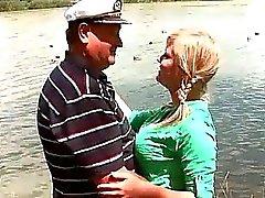 Busty teen enjoys hot sex with grandpa