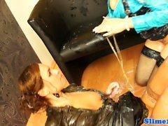 Kyra Yorke licking pussy at gloryhole