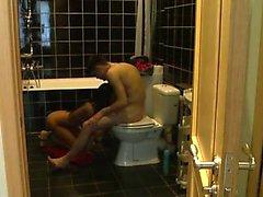 High leggy elegance in toilet home made fuck