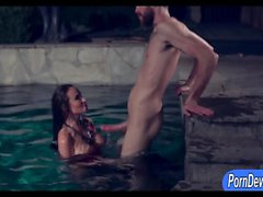 Luscious whore Sandee Westgate twat pounded by the pool