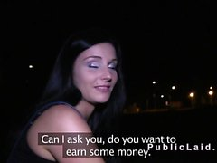 Czech beauty bangs in public pov at night