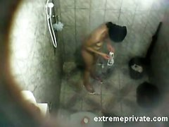 Spying Latina Mum soaping in the shower