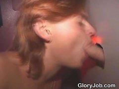 Redheaded Amateur Girl Sucking Stranger At Glory Hole