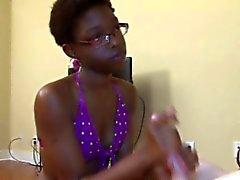Dark ebony black skank with glasses jerks