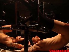 Tied up lesbian bondage babes punished