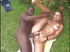 Sexy little Latina gets her shaved pussy licked by black guy