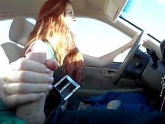 Risky Public Handjob and Cum in Redhead's Mouth in Car