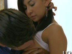 Thrilling doggy style sex with a sweet teen