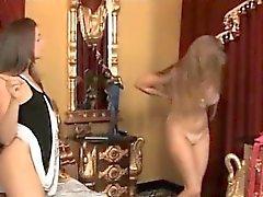 Wicked Lesbian Strapon Spanking
