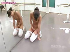 Japanese gymnast works out and gets naked while practicing