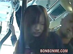 Jap schoolgirl gets cum on bus