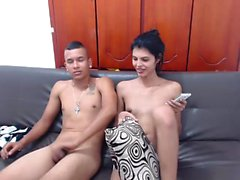 Handjob amateur petite teen maid tugging for coffee cream