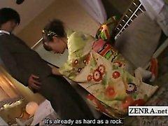 Subtitled Rin Tomosaki in kimono handjob with cumshot