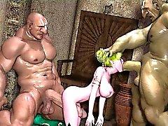 3D Elf Teens annihilés par Ogres!