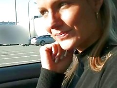 Blonde Czech babe Holly boned in the car