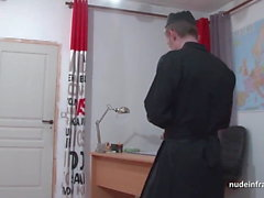 Young black schoolgirl banged by a priest in classroom