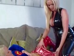 Blonde latex Milfs licking and fucking each other pussy