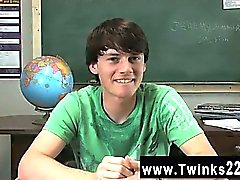Gay twinks Jeremy Sommers is seated at a desk and an interview is