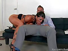 Office slut Romi Rain fucks a lucky new guy