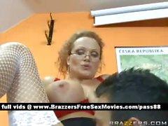 Mature busty blonde teacher on her desk