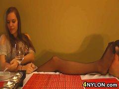 Pantyhose Worshipping While Having Dinner